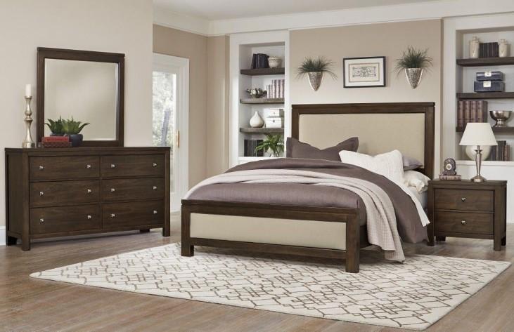 Kismet Walnut Upholstered Panel Bedroom Set