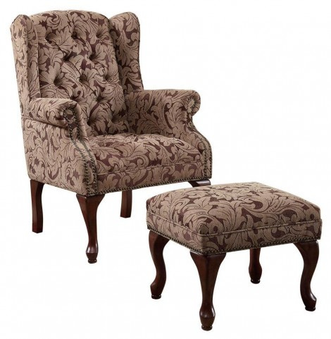 Button Tufted Wing Chair with Ottoman - 3932B
