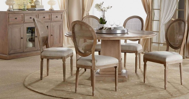 "Hudson Stone Wash 60"" Round Dining Room Set with Oliver Dining Chairs"