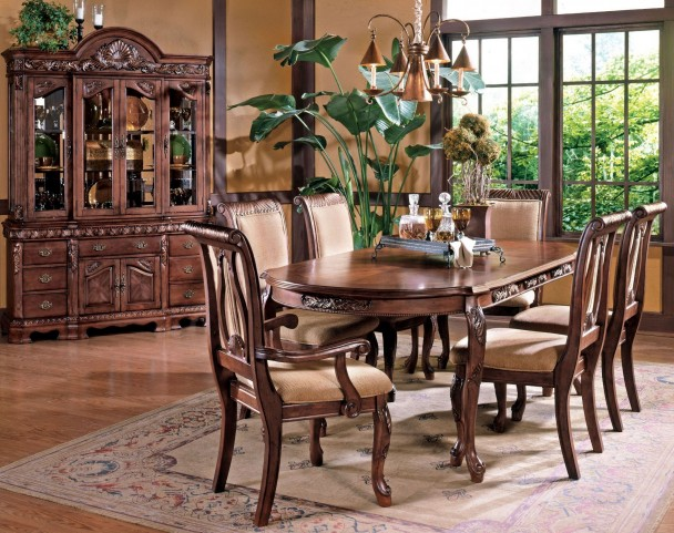 Harmony Medium Cherry Extendable Rectangular Dining Room Set