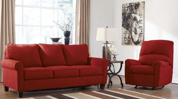 Zeth Crimson Living Room Set
