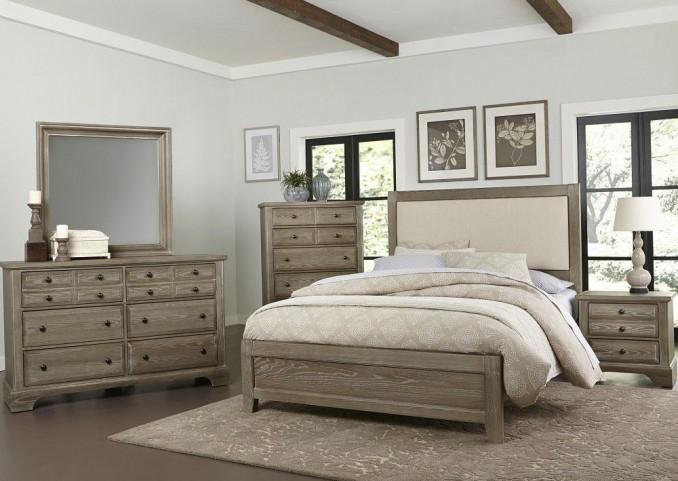 Bedford Washed Oak Upholstered Panel Bedroom Set