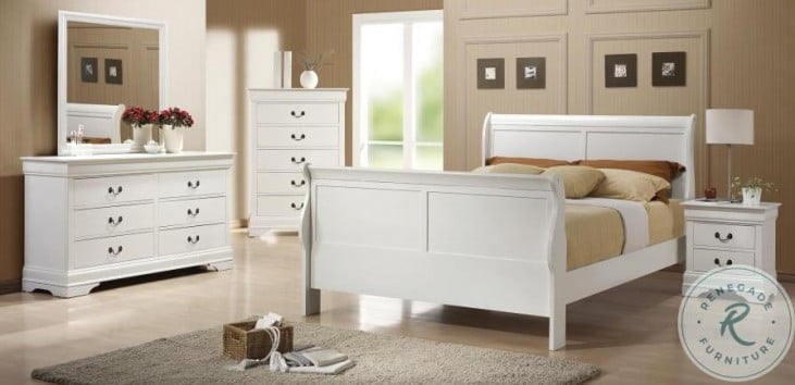 Louis Philippe White Sleigh Bedroom Set