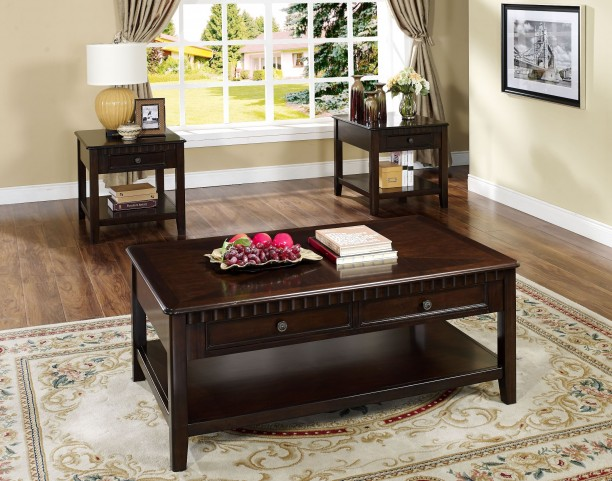 Edgemont Distressed Walnut Storage Occasional Table Set