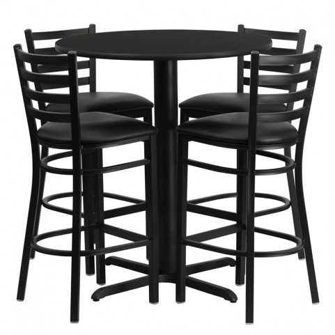 "30"" Round Black Table Set with Ladder Back Black Vinyl Bar Stool"