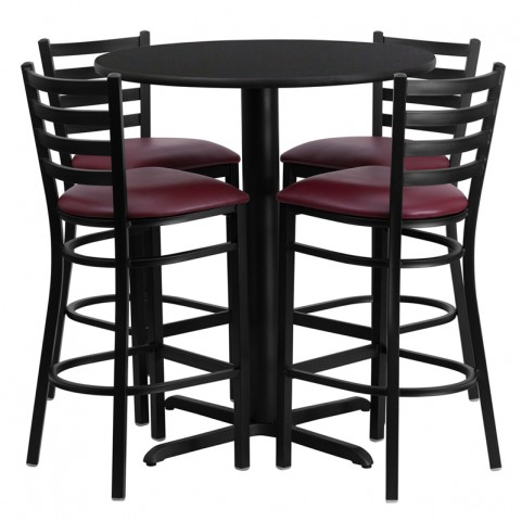 "30"" Round Black Table Set with Ladder Back Burgundy Vinyl Bar Stool"