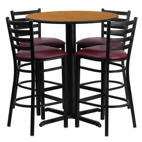 "30"" Round Natural Table Set with Ladder Back Burgundy Vinyl Bar Stool"