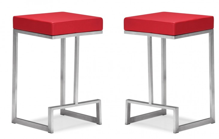 Darwen Counter Chair Red Set of 2