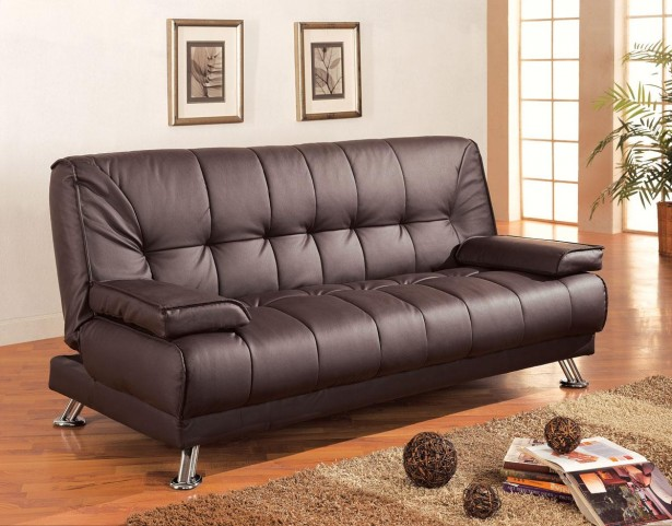Faux Leather Convertible Sofa Bed With Removable Armrests - 300148