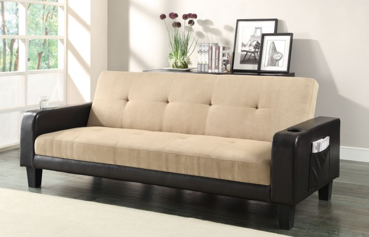 300295 Khaki/Brown Sofa Bed