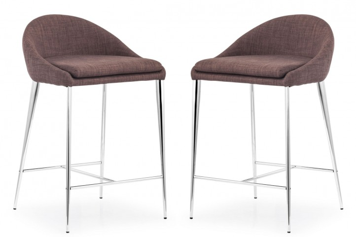 Reykjavik Tobacco Fabric Counter Chair Set of 2