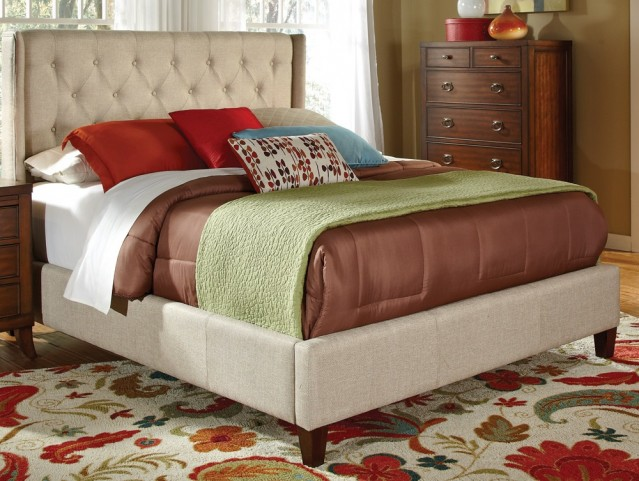 Tan Valvet Queen Size Bed