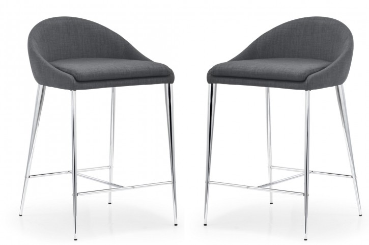 Reykjavik Graphite Fabric Counter Chair Set of 2