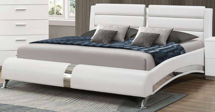 Jeremaine Glossy White Queen Upholstered Platform Bed