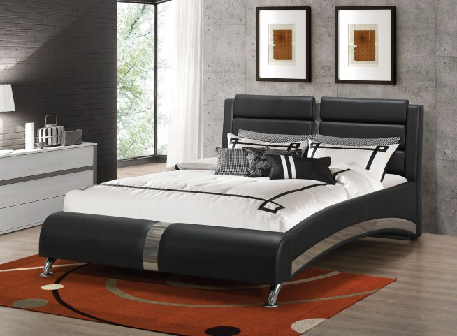 Jeremaine Black Queen Upholstered Platform Bed