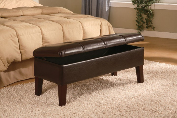 Lewis Upholstered Storage Tapered Leg Bench