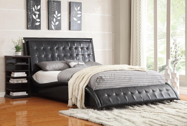 Tully Black Queen Upholstered Bed
