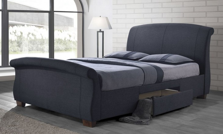 Bristol Dark Gray Upholstered King Panel Storage Bed