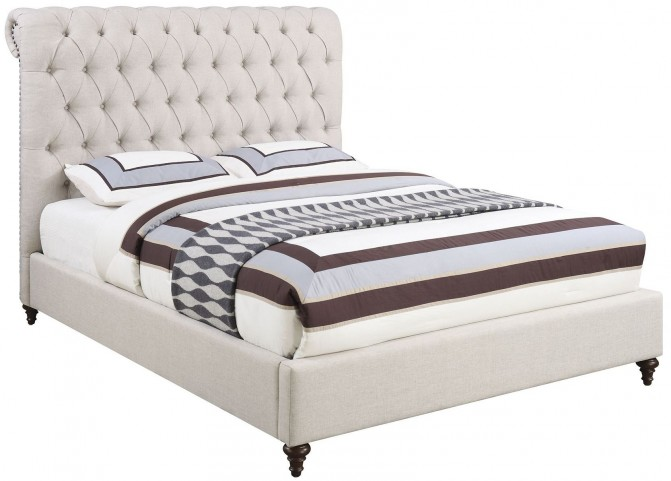 Devon Beige Queen Platform Upholstered Bed