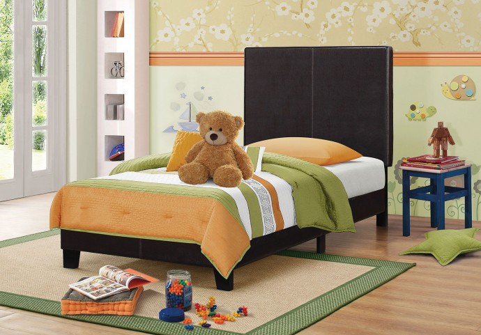 Mauve Dark Brown Twin Platform Bed