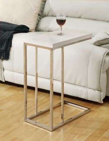 3008 Glossy White / Chrome Accent Table