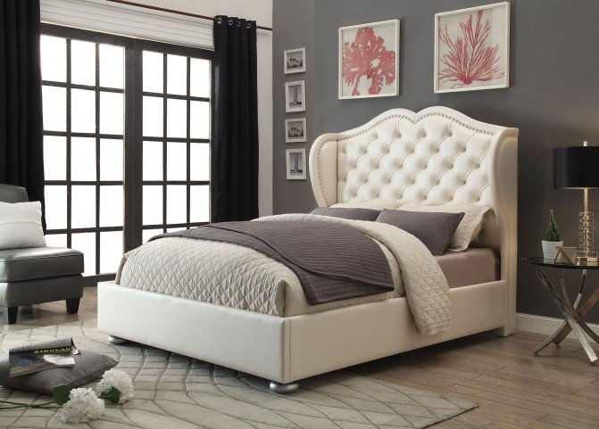 Clarice Cream Queen Platform Bed