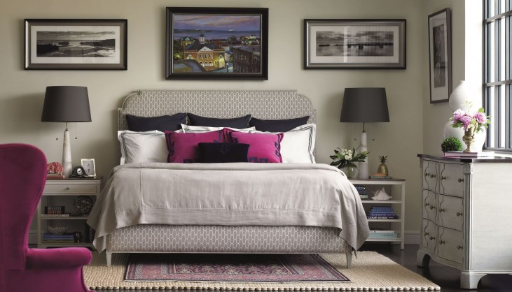 Charleston Regency Gray Linen Peninsula Upholstered Bedroom Set