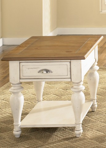 Ocean Isle Rectangular Bisque with Natural Pine End Table