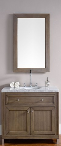 "Chicago 36"" White Washed Walnut Single 4CM Top Vanity Set"