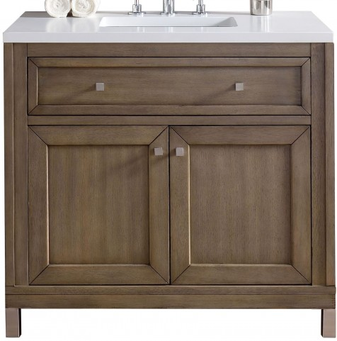 "Chicago 36"" White Washed Walnut Single Vanity With 3Cm Snow White Quartz Top"