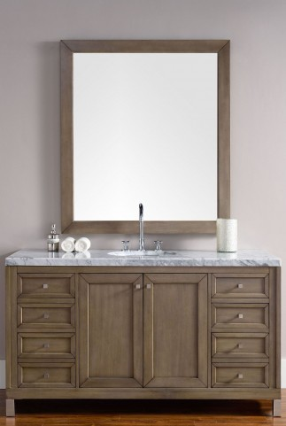 "Chicago 60"" White Washed Walnut Single 4CM Top Vanity Set"