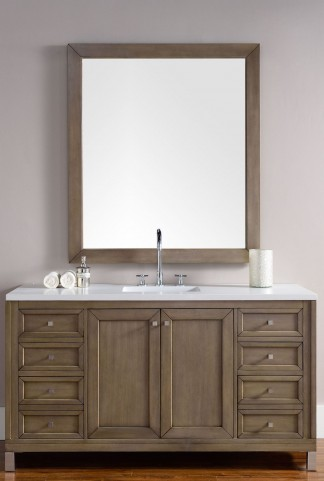 "Chicago 60"" White Washed Walnut Single Vanity With 3Cm Snow White Quartz Top"