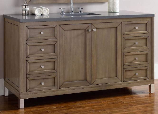 "Chicago 60"" White Washed Walnut Single Vanity With 3Cm Shadow Gray Quartz Top"