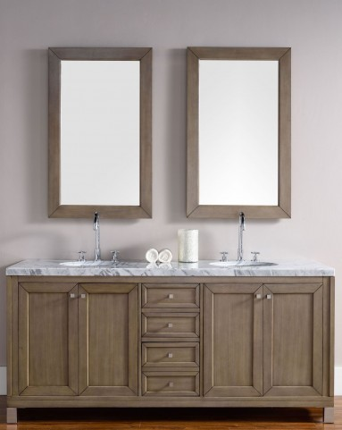 "Chicago 72"" White Washed Walnut Single 4Cm Top Vanity"