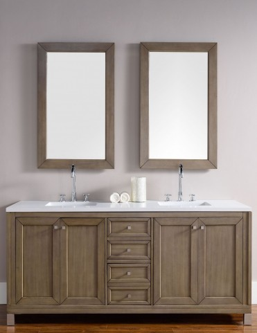 "Chicago 72"" White Washed Walnut Single Vanity With 3Cm Snow White Quartz Top"