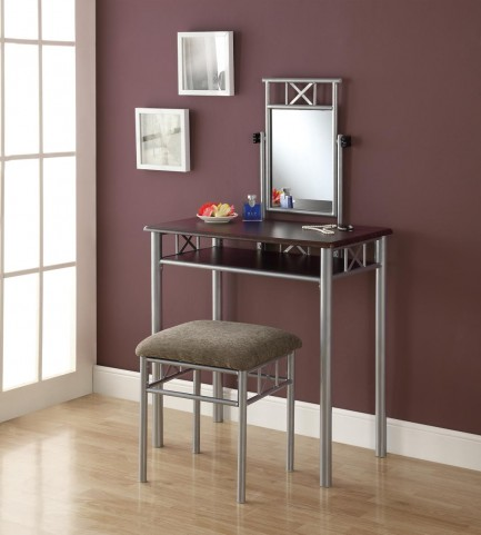 3072 Cappuccino / Silver Vanity With Stool