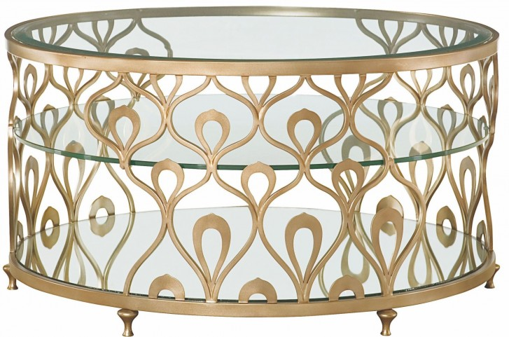 Bob Mackie Champagne Steel Round Cocktail Table