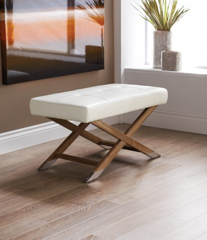 Vivian Bench Reclaimed Leather Ivory