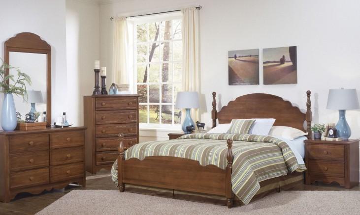 Carolina Crossroads Brown Cherry Panel Bedroom Set