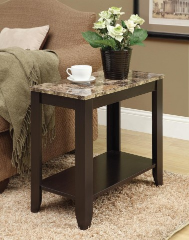 3114 Cappuccino / Marble Top Accent Side Table
