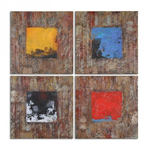 Primary Blocks Wall Art Set of 4