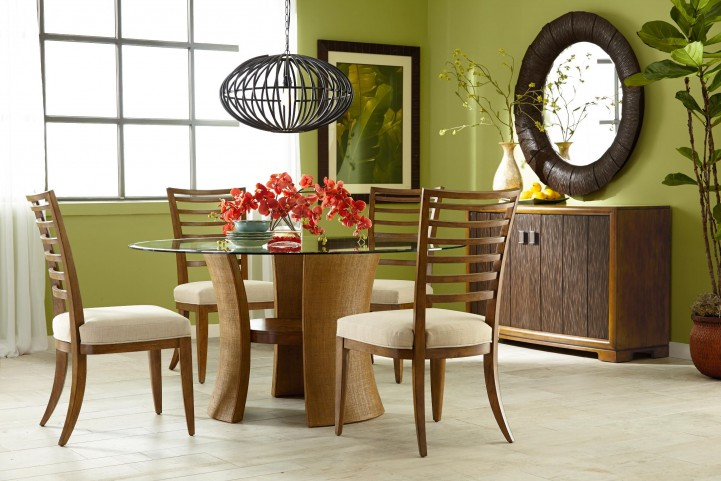 Grove Point Warm Khaki Round Pedestal Dining Room Set