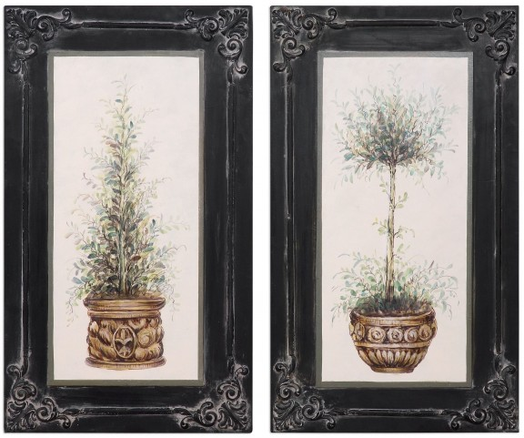 Topiaries Hand Painted Art Set of 2