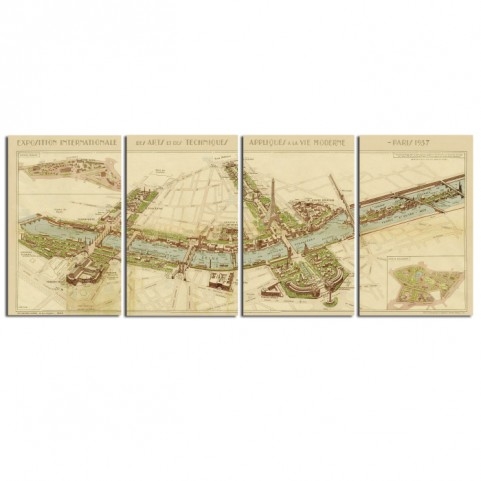 Paris Map Wall Art Set of 4