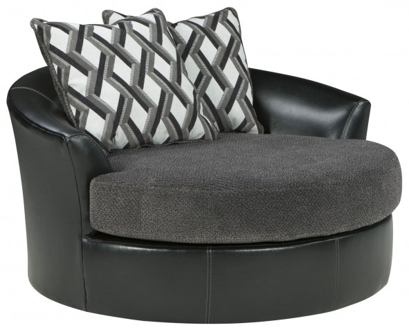 Kumasi Smoke Oversized Swivel Accent Chair