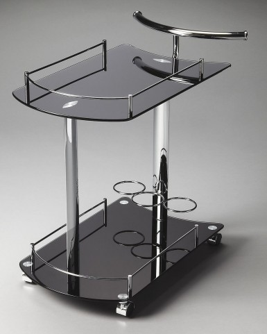 3238309 Penelope Loft Black Glass Serving Cart