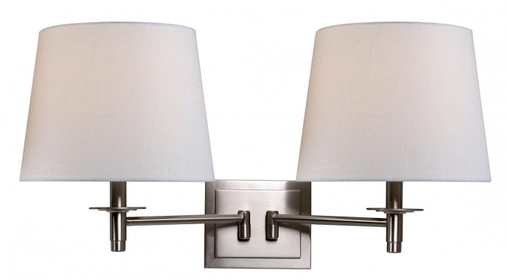 Glenn Brushed Steel Wall Swing Arm Lamp