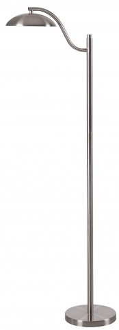 Crescent Brushed Steel Floor Lamp
