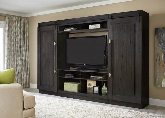 Abbey Charcoal Entertainment Center With Piers