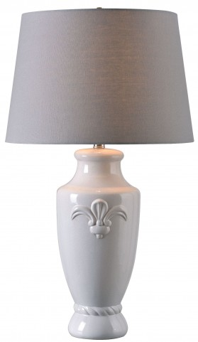 Crackle White Table Lamp